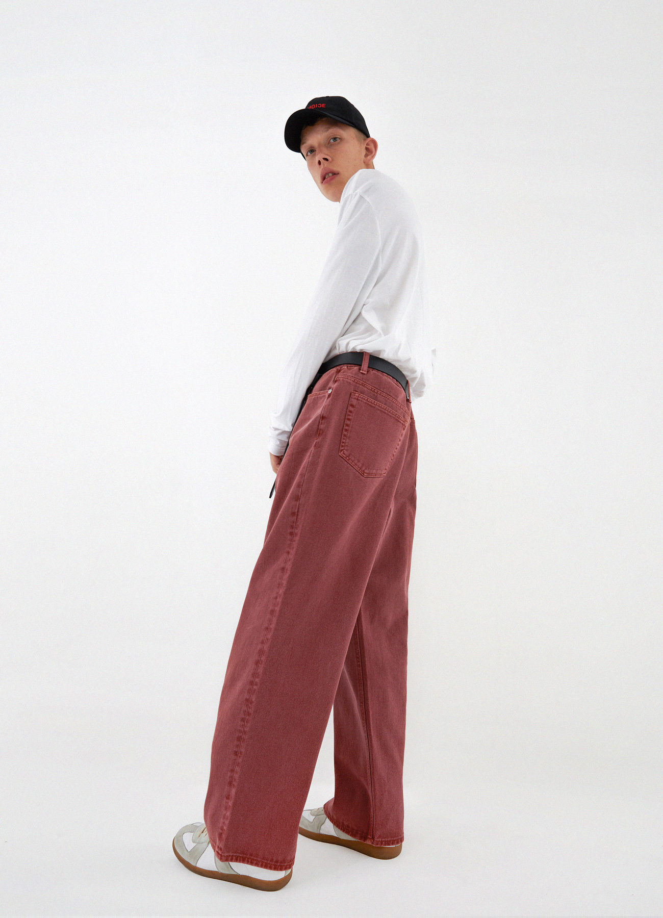 Newtro Wide Denim Pants (Cranberry)