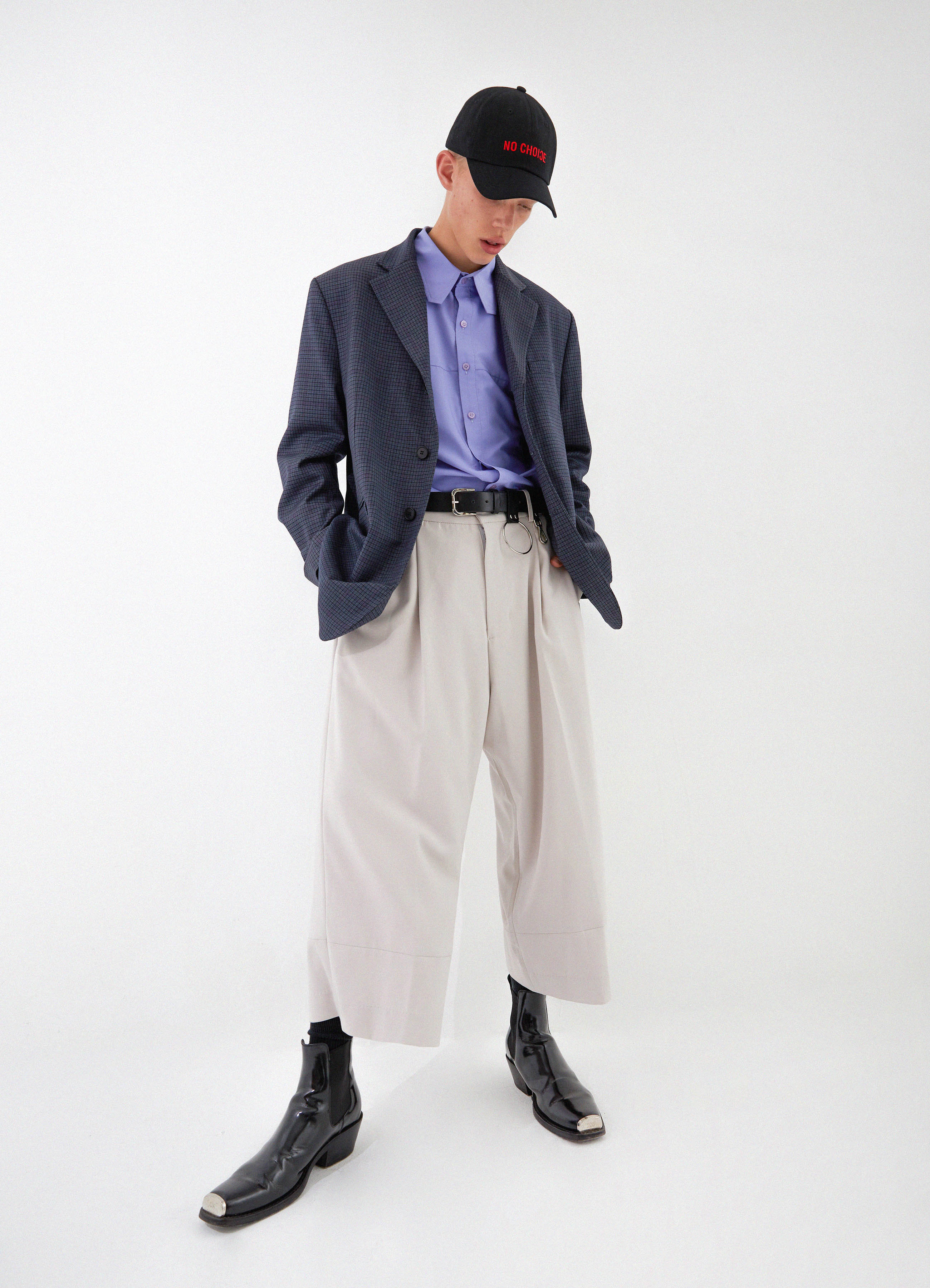 Jet Pocket Wide Slacks (Light Gray)
