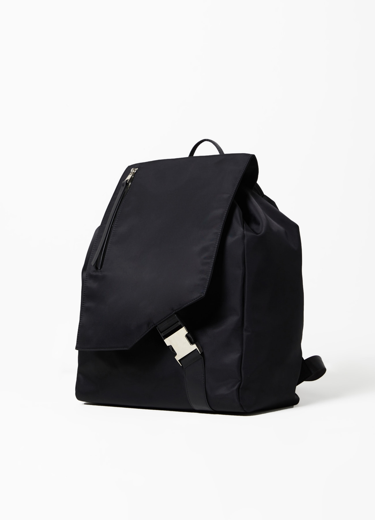 Oblique Buckle Backpack - Black