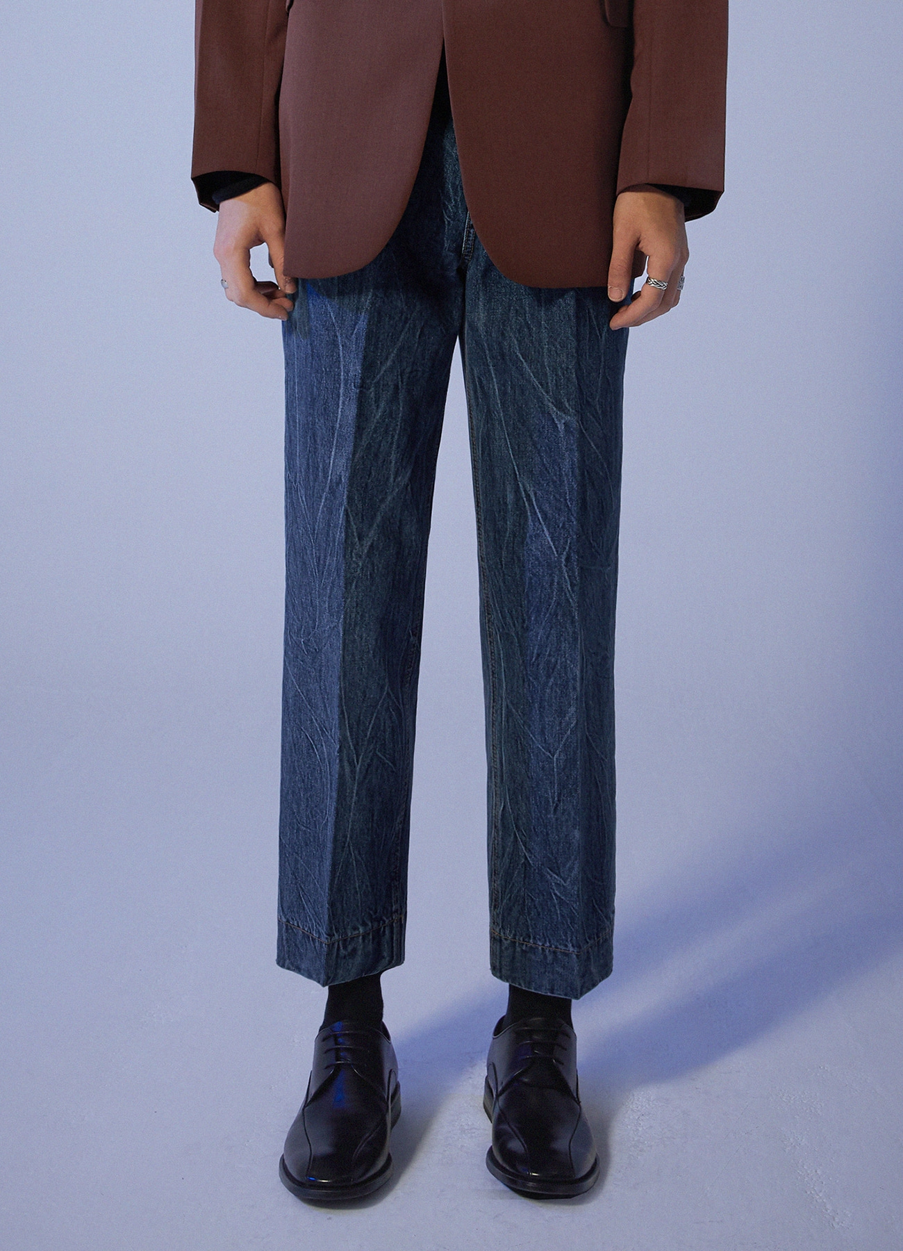 Lightning Washed Crop Denim Pants - DeepBlue [10/29일 예약발송]